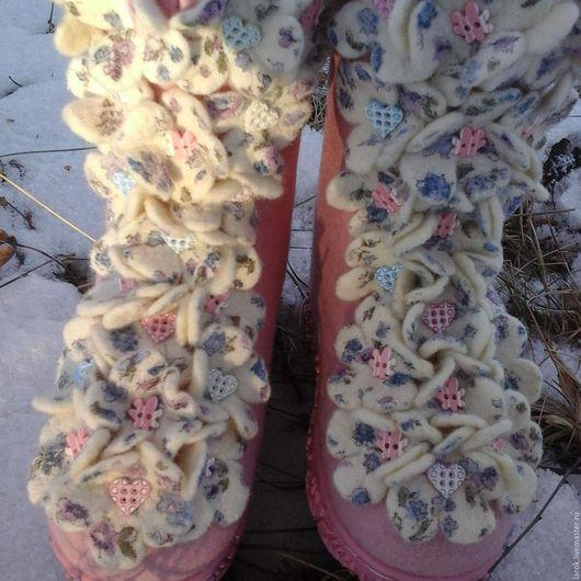 """Обувь ручной работы. Ярмарка Мастеров - ручная работа. Купить Валенки детские """"Цветочная пена"""". Handmade. Розовый, валенки для девочки"""