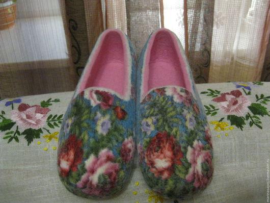 """Обувь ручной работы. Ярмарка Мастеров - ручная работа. Купить Тапочки """"Летний вечер"""". Handmade. Комбинированный, новозеландский кардочёс"""