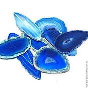 Материалы для творчества ручной работы. Ярмарка Мастеров - ручная работа Агат тонированный Срезы -синие. Handmade.