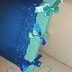 Текстиль, ковры ручной работы. Подушка с вышивкой и атласными бантами. TEPY4 quilt ❀ТЁПЫЧ❀. Ярмарка Мастеров. Васильковый, подушка