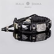 Украшения handmade. Livemaster - original item Bracelet with Muonionalusta Leather Men`s Bracelet Meteorite Agate Pyrite. Handmade.