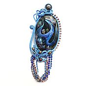 Украшения handmade. Livemaster - original item Monocera blue soutache with labradorite and hand-painted Dragon. Handmade.