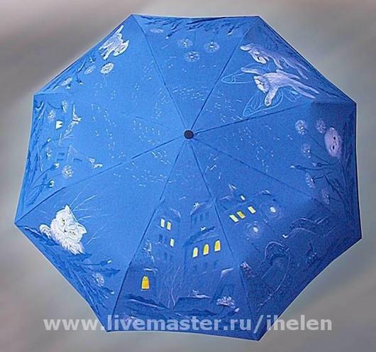 """Зонты ручной работы. Ярмарка Мастеров - ручная работа. Купить Зонт """"Майский снег"""". Handmade. Тёмно-синий, одуванчик, путешествие"""