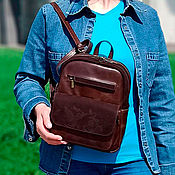 Сумки и аксессуары handmade. Livemaster - original item Backpacks: Women`s Brown Sherry Fashion Leather Backpack Bag. CP29-622. Handmade.