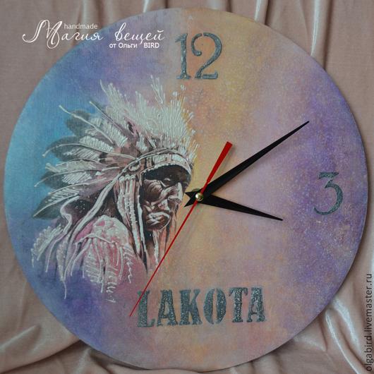 Часы для дома ручной работы. Ярмарка Мастеров - ручная работа. Купить Часы LAKOTA. Handmade. Декупаж, часы декупаж