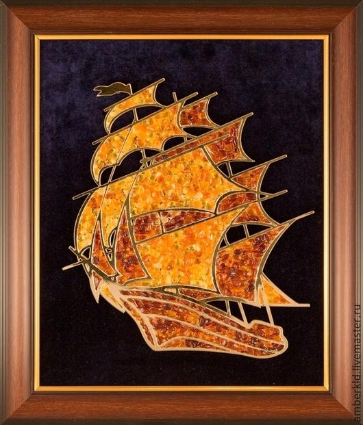 """Пейзаж ручной работы. Ярмарка Мастеров - ручная работа. Купить Картина из янтаря """"Парусник"""". Handmade. Рыжий, янтарь натуральный, подарок"""