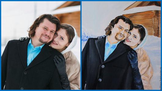 Люди, ручной работы. Ярмарка Мастеров - ручная работа. Купить портрет маслом 50х40 по фото Гармоничная пара. Handmade. Комбинированный