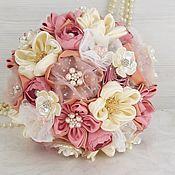 Свадебный салон handmade. Livemaster - original item Wedding brooch bouquet pink and ivory. Brides bouquet of fabric. Handmade.