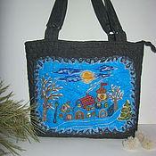 Сумки и аксессуары ручной работы. Ярмарка Мастеров - ручная работа Зимняя ночь вышитая  текстильная сумка. Handmade.