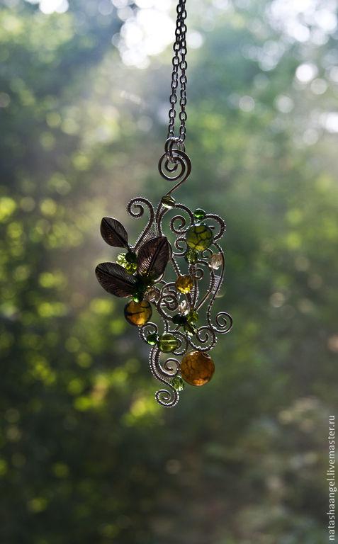 Кулоны, подвески ручной работы. Ярмарка Мастеров - ручная работа. Купить Зеленый кулон с камнями (красивое украшение с камнем, подарок девушке). Handmade.