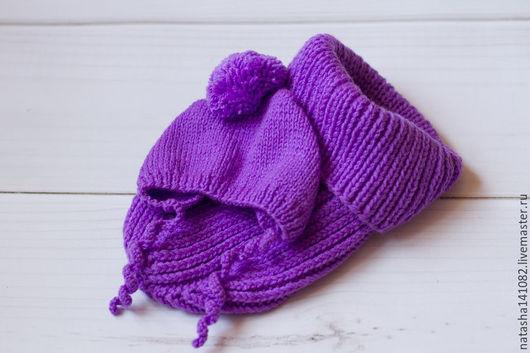 Для новорожденных, ручной работы. Ярмарка Мастеров - ручная работа. Купить Комплект для фотосессии (кокон + шапочка). Handmade. Фиолетовый