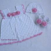 Работы для детей, handmade. Livemaster - original item christening set for girls dress booties beanie. Handmade.