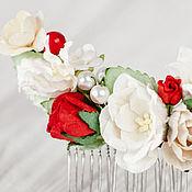 Свадебный салон ручной работы. Ярмарка Мастеров - ручная работа Гребень Невесты для волос Красная Цветочная Молочная Луна Украшение. Handmade.