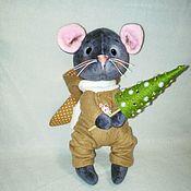 Мягкие игрушки ручной работы. Ярмарка Мастеров - ручная работа Мышонок Малыш в комбинезоне с заячьими ушками из велюра. Handmade.