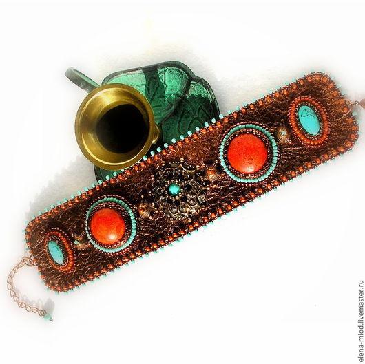 """Браслеты ручной работы. Ярмарка Мастеров - ручная работа. Купить Браслет """"Марокко"""", натуральная бирюза и коралл. Handmade. Разноцветный, этника"""
