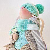 Куклы и игрушки ручной работы. Ярмарка Мастеров - ручная работа Заяц текстильный мятно - кремовый. Handmade.