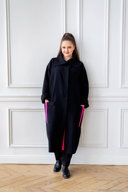 Designer coat made of Italian wool black ribbed with trim, Coats, Novosibirsk,  Фото №1