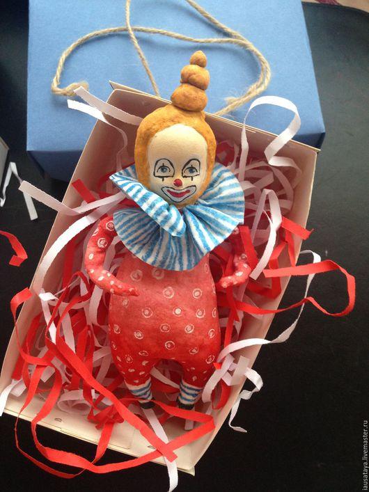 """Коллекционные куклы ручной работы. Ярмарка Мастеров - ручная работа. Купить Новогодняя игрушка""""Клоун"""". Handmade. Ярко-красный, голубой, вата"""