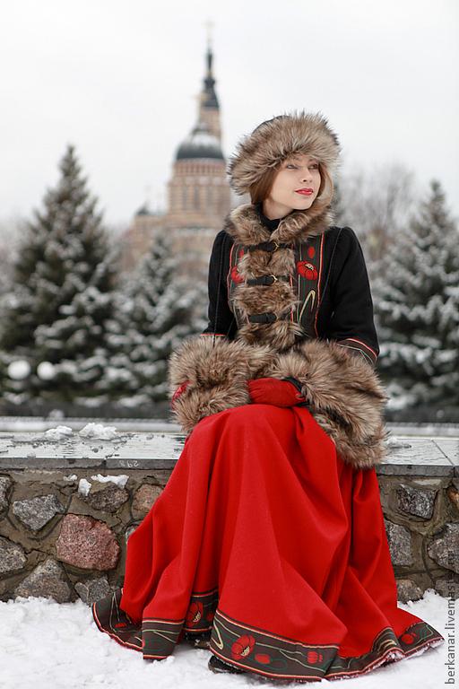 """Верхняя одежда ручной работы. Ярмарка Мастеров - ручная работа. Купить Кафтан """"Русские сезоны"""". Handmade. Черный, зимняя мода"""