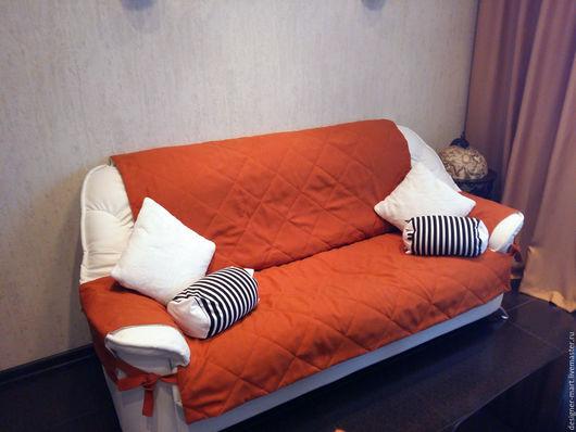 Текстиль, ковры ручной работы. Ярмарка Мастеров - ручная работа. Купить Чехлы для стульев и дивана в оранжевом цвете. Handmade. Оранжевый