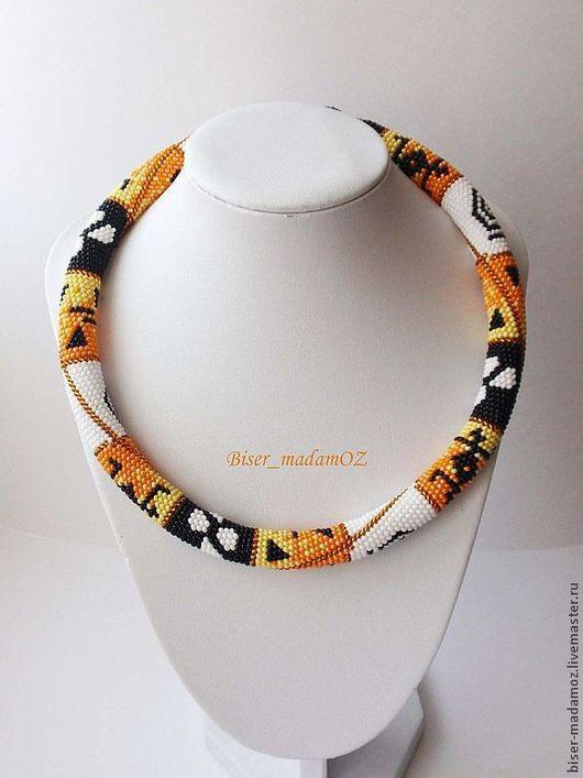 """Колье, бусы ручной работы. Ярмарка Мастеров - ручная работа. Купить Колье-жгут  """" Африканские мотивы"""". Handmade. Оранжевый"""