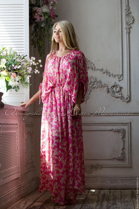 """Платья ручной работы. Ярмарка Мастеров - ручная работа. Купить Платье """"Silk"""". Handmade. Розовый, летний сарафан, шёлк-шифон"""