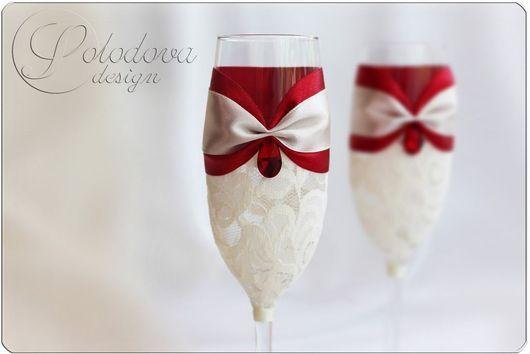 """Свадебные бокалы """"Феерия"""" в красном\r\nсвадебные бокалы,бокалы на свадьбу,бокалы для молодоженов,свадебные аксессуары ручной работы."""