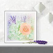 handmade. Livemaster - original item Watercolor rose and lavender. Handmade.