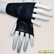 Аксессуары handmade. Livemaster - original item Short mitts of leather or suede with zip. Handmade.