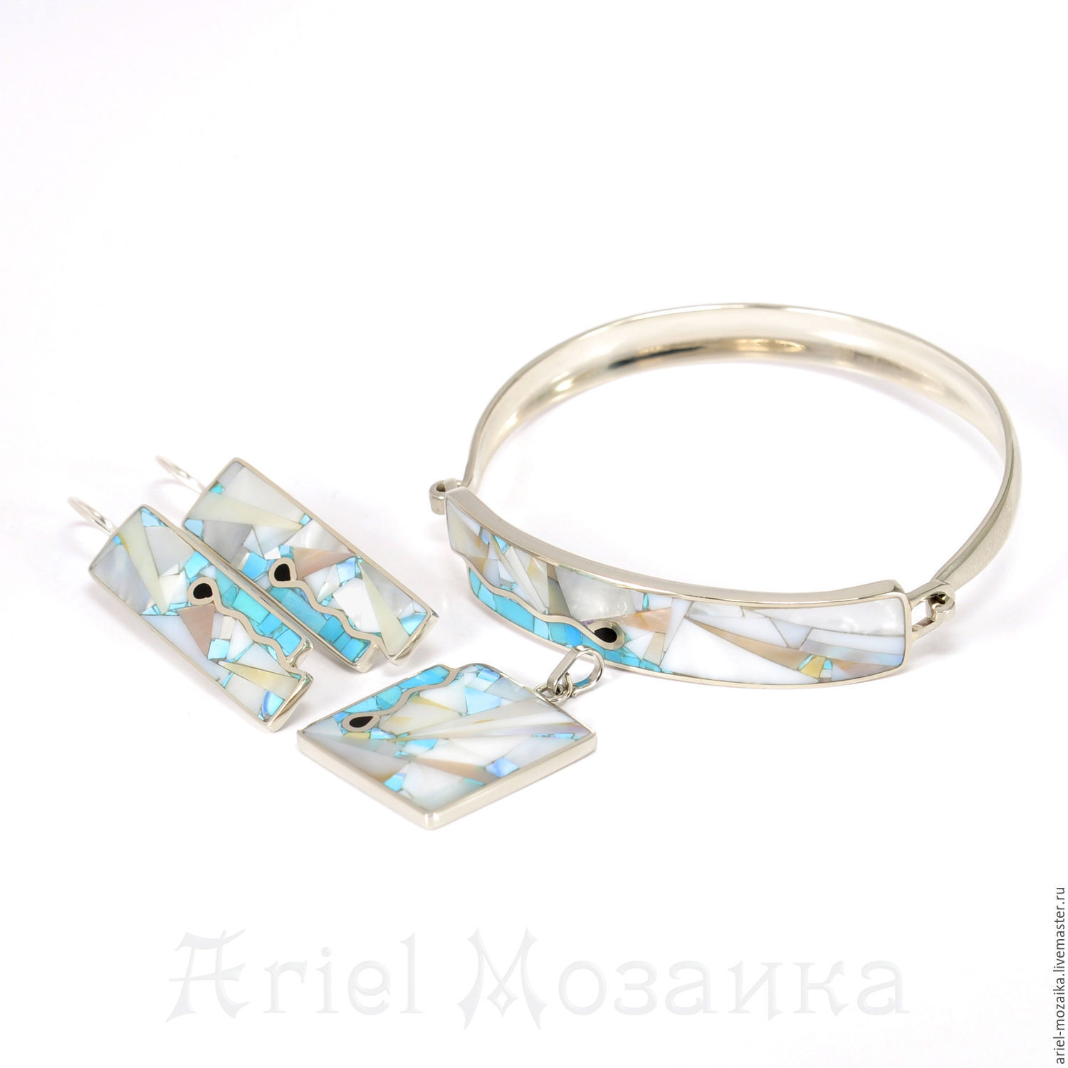 Kit `Turquoise and Pearl` Earrings Pendant Bracelet ARIEL - Alena - MOSAIC (Moscow) Set with turquoise Set with mother of pearl Kit — Mosaic from natural stones