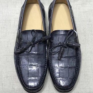 Обувь ручной работы. Ярмарка Мастеров - ручная работа Мокасины из кожи крокодила, в тёмно - синем цвете.. Handmade.