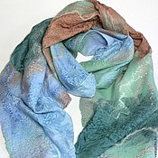 Scarves handmade. Livemaster - original item scarf felted Mint tenderness. Handmade.