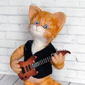 Куклы и игрушки ручной работы. Ярмарка Мастеров - ручная работа Кот-гитарист. Валяная игрушка. Handmade.