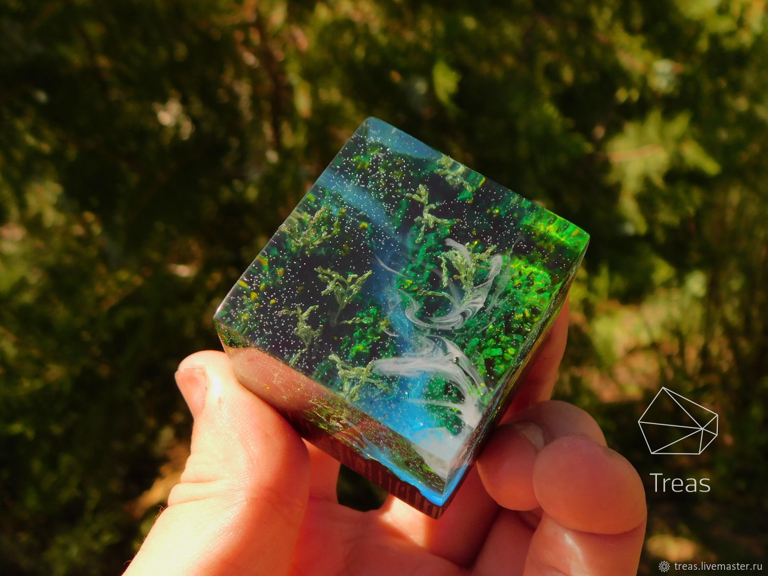 Summer forest-a cube made of wood and resin, Figurines, Volgograd,  Фото №1