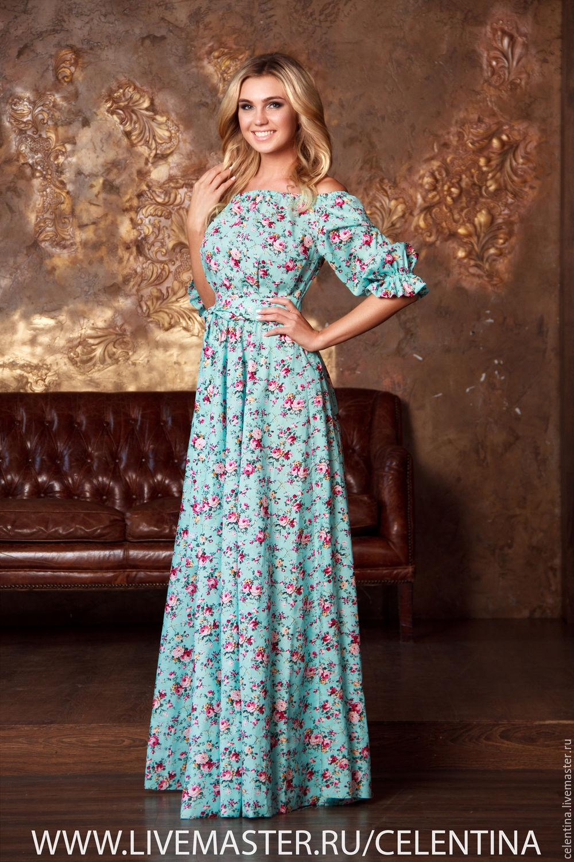 Длинное платье из натуральных тканей