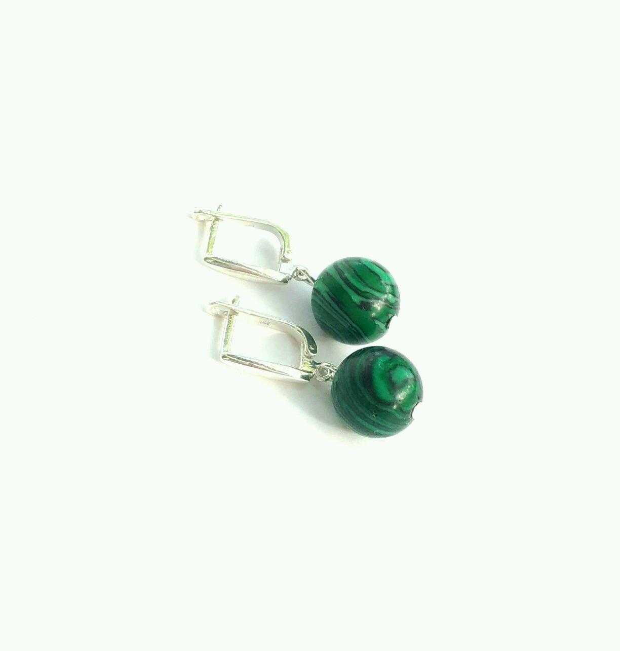 Silver earrings malachite, Earrings, Moscow,  Фото №1