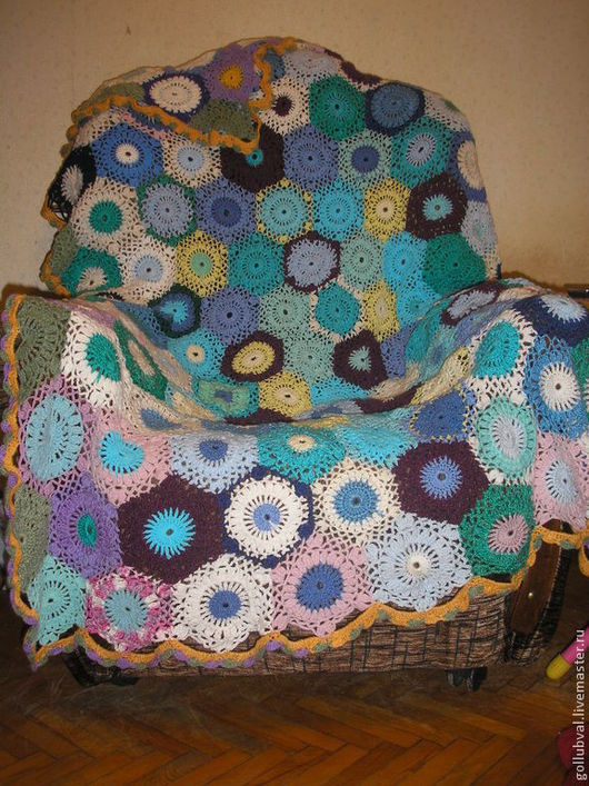 Текстиль, ковры ручной работы. Ярмарка Мастеров - ручная работа. Купить накидка на кресло снежинка. Handmade. Покрывало, плед крючком