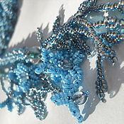 Украшения ручной работы. Ярмарка Мастеров - ручная работа Лариат жгут  из бисера  Зимний. Брошь орхидея съемная голубой. Handmade.