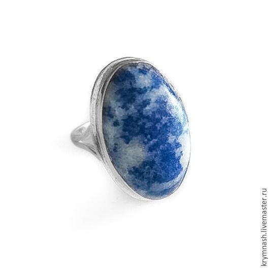 """Кольца ручной работы. Ярмарка Мастеров - ручная работа. Купить Кольцо """"Небо"""" лазурит, серебро 925. Handmade. Синий, белый"""