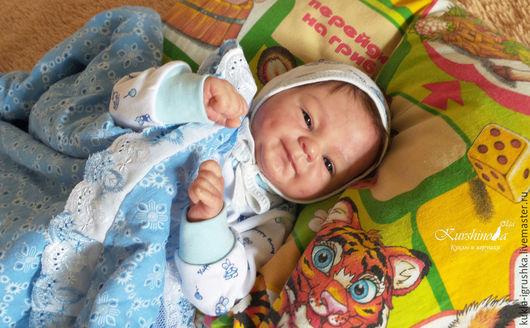 Куклы-младенцы и reborn ручной работы. Ярмарка Мастеров - ручная работа. Купить Гриша. Handmade. Голубой, мохер
