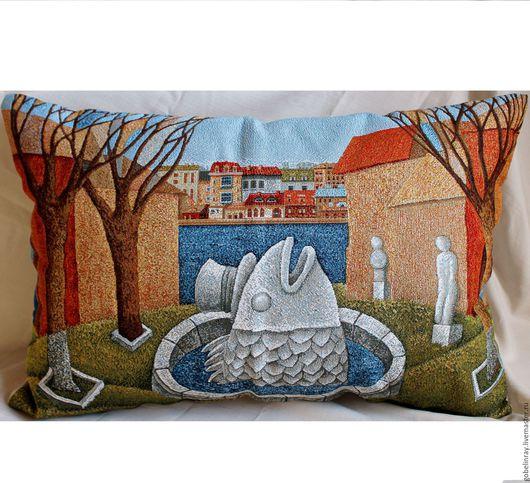Текстиль, ковры ручной работы. Ярмарка Мастеров - ручная работа. Купить ФОНТАН: чехол гобеленовый на подушку, 45-65 см. Handmade.