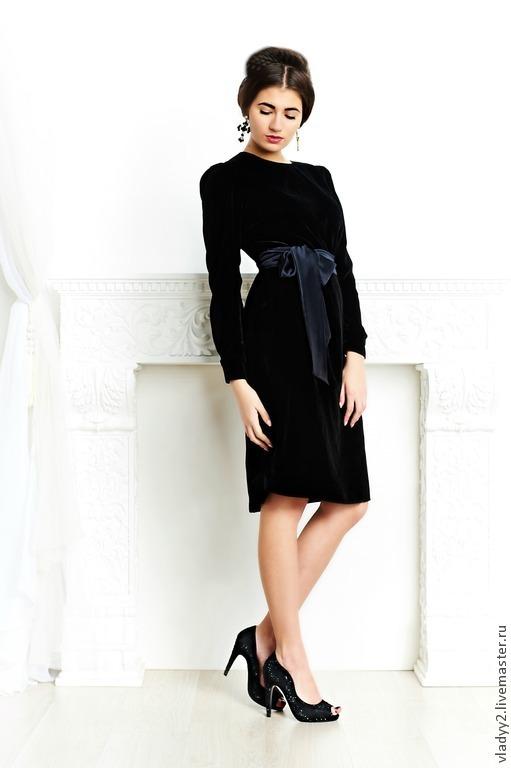 Платье из бархата черное купить