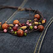 Украшения handmade. Livemaster - original item Necklace on a cord Spring garden green pink brown Burgundy blue. Handmade.