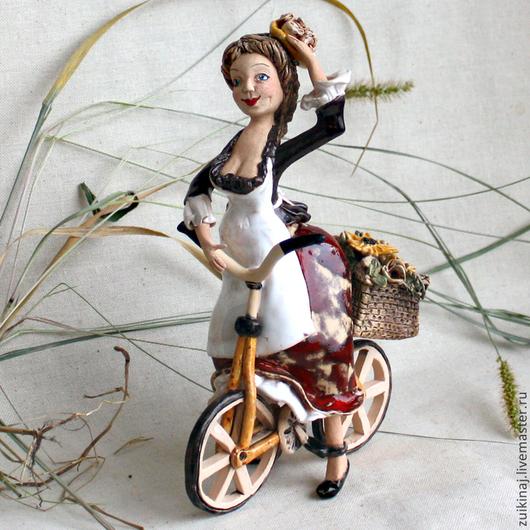 Колокольчики ручной работы. Ярмарка Мастеров - ручная работа. Купить Колокольчик-бубенчик «Бабетта на велосипеде». Handmade. Бордовый, велосипед, маки