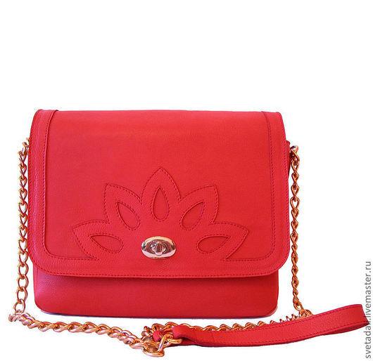 """Женские сумки ручной работы. Ярмарка Мастеров - ручная работа. Купить сумка """"Лотос"""". Handmade. Коралловый, сумка из натуральной кожи"""