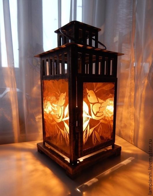 """Освещение ручной работы. Ярмарка Мастеров - ручная работа. Купить Фонарь  """"Птички золотистые""""  электрический. Handmade. Бронзовый, старинный, птички"""