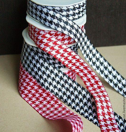 клетчатые ленты красные и черные, широкие и узкие