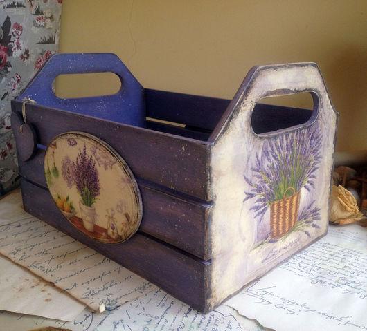 Корзины, коробы ручной работы. Ярмарка Мастеров - ручная работа. Купить Любимый Прованс. Ящик для хранения. Handmade. Декупаж, коробка