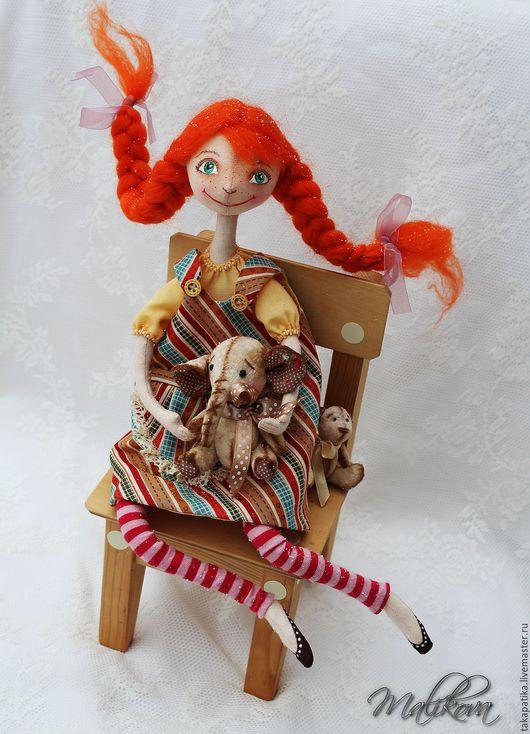 Коллекционные куклы ручной работы. Ярмарка Мастеров - ручная работа. Купить Пеппи куколка на проволочном каркасе. Handmade. Желтый