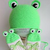 """Работы для детей, ручной работы. Ярмарка Мастеров - ручная работа комплект """"Cheerful frogs"""" шапка - варежки. Handmade."""